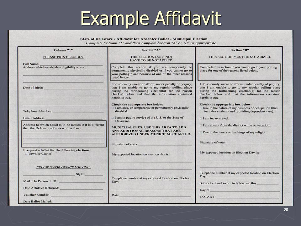 Example Affidavit 20