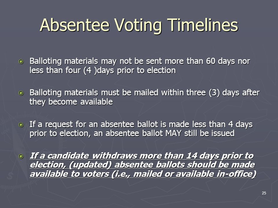 Absentee Voting Timelines  Balloting materials may not be sent more than 60 days nor less than four (4 )days prior to election  Balloting materials must be mailed within three (3) days after they become available  If a request for an absentee ballot is made less than 4 days prior to election, an absentee ballot MAY still be issued  If a candidate withdraws more than 14 days prior to election, (updated) absentee ballots should be made available to voters (i.e., mailed or available in-office) 25