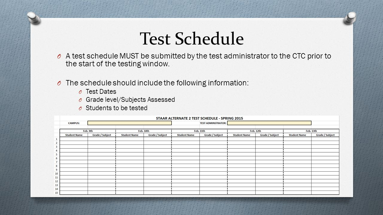 Test Schedule O A test schedule MUST be submitted by the test administrator to the CTC prior to the start of the testing window. O The schedule should