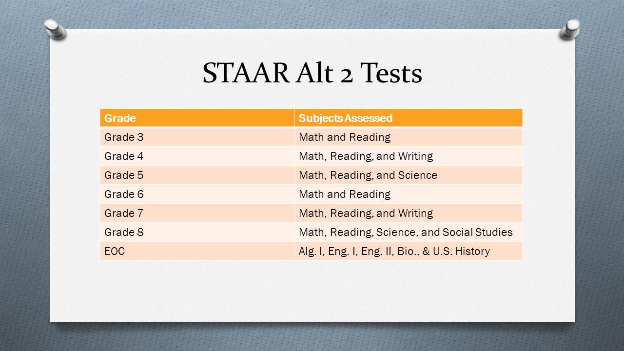 STAAR Alt 2 Tests GradeSubjects Assessed Grade 3Math and Reading Grade 4Math, Reading, and Writing Grade 5Math, Reading, and Science Grade 6Math and R