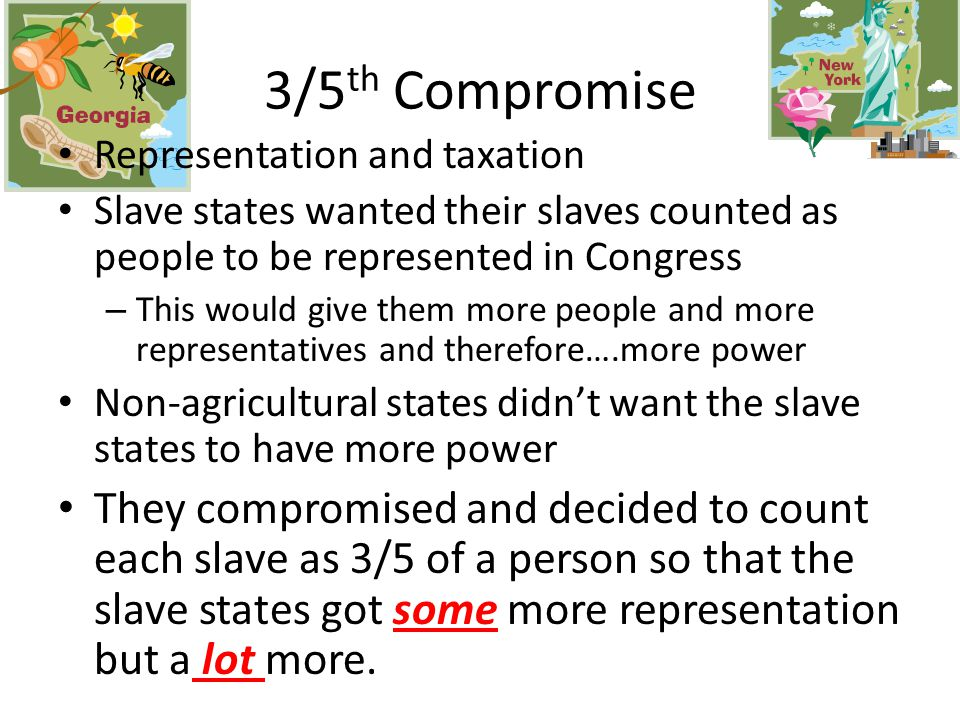 They compromised and made two houses of Congress (Article 1) They created the House of Representatives – Representation based on population They created the Senate – 2 representatives per state Great Compromise