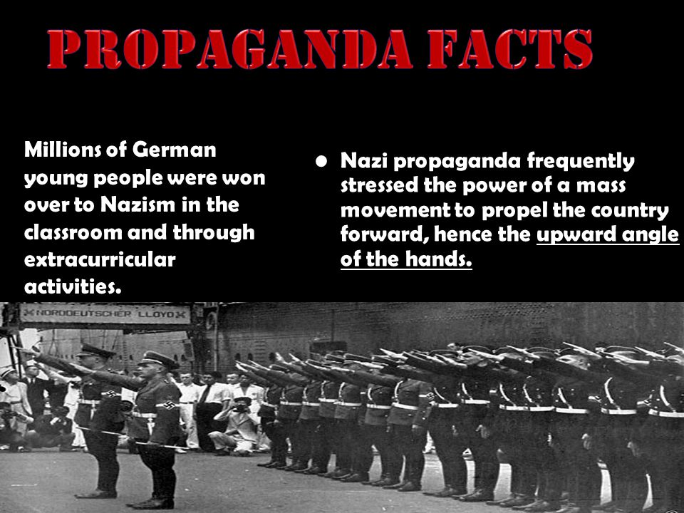 Nazi propaganda frequently stressed the power of a mass movement to propel the country forward, hence the upward angle of the hands. Millions of Germa