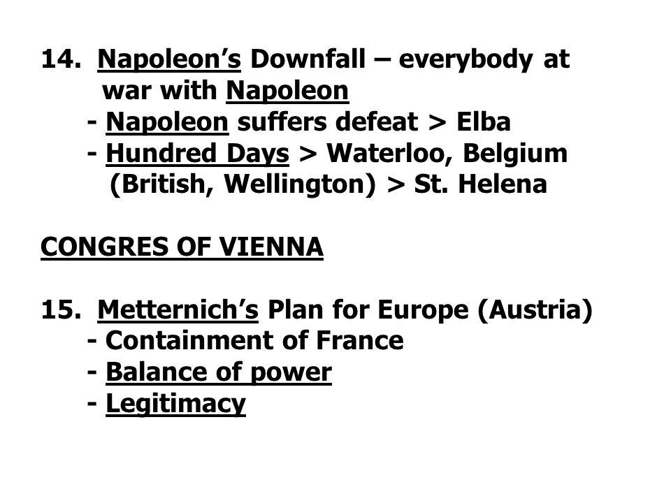 14. Napoleon's Downfall – everybody at war with Napoleon - Napoleon suffers defeat > Elba - Hundred Days > Waterloo, Belgium (British, Wellington) > S