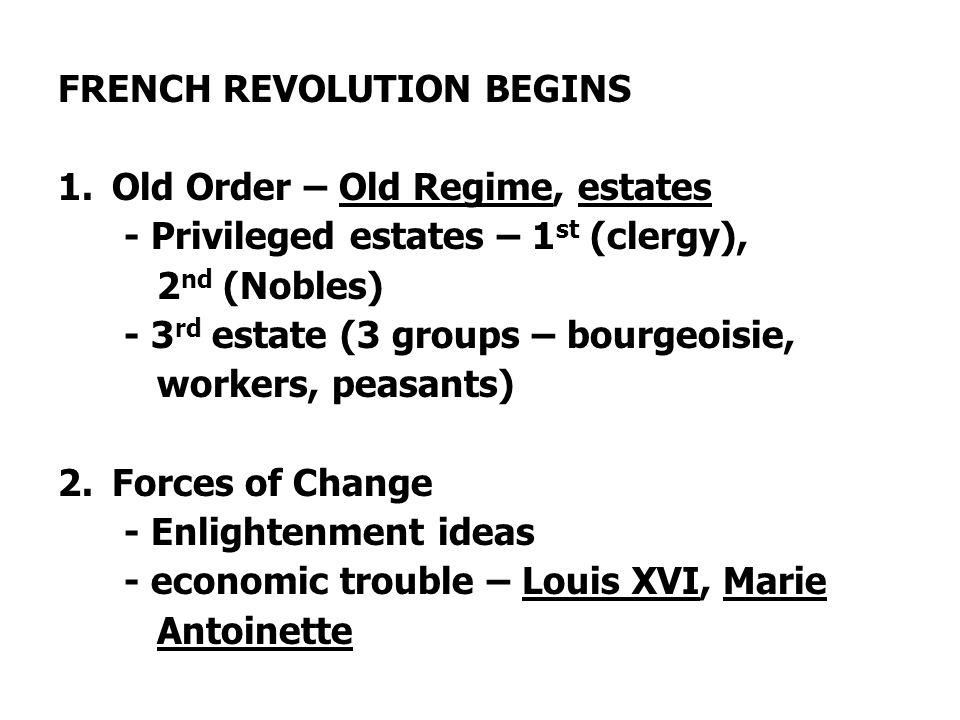 FRENCH REVOLUTION BEGINS 1.Old Order – Old Regime, estates - Privileged estates – 1 st (clergy), 2 nd (Nobles) - 3 rd estate (3 groups – bourgeoisie,