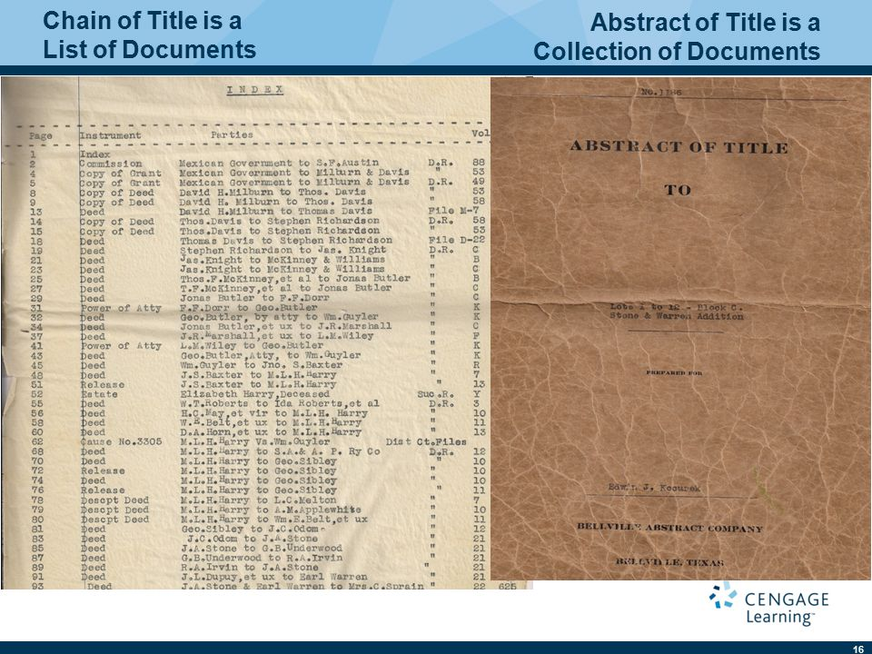 16 Chain of Title is a List of Documents Abstract of Title is a Collection of Documents