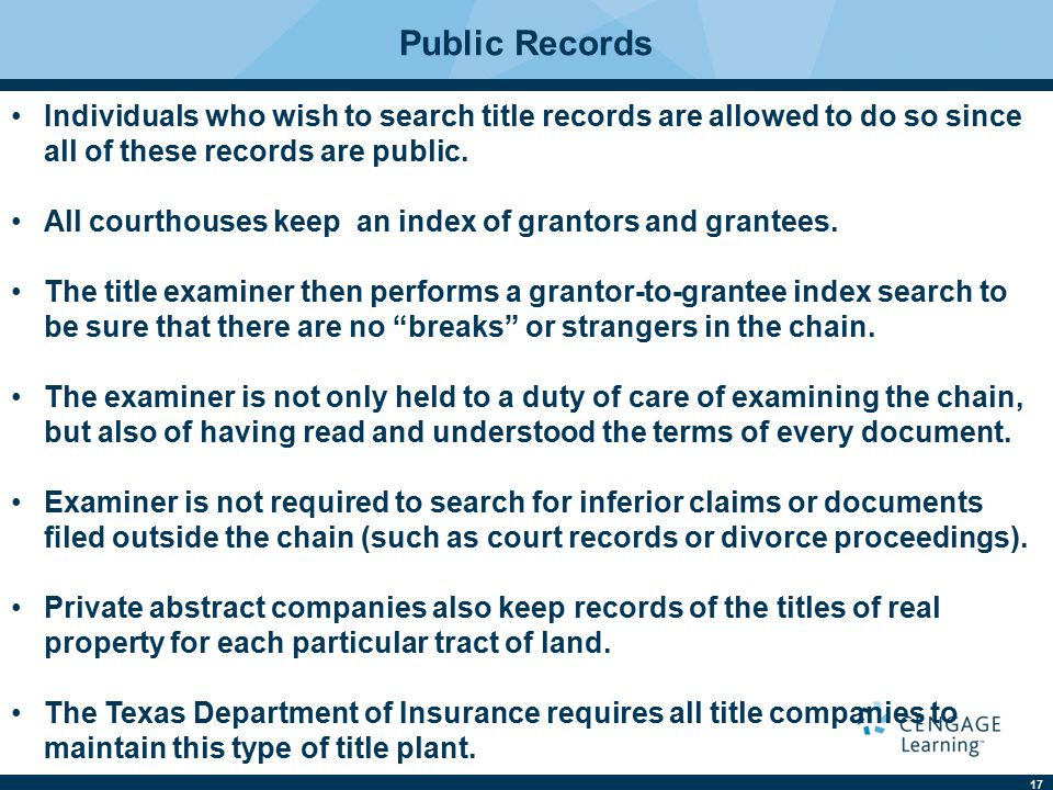 17 Individuals who wish to search title records are allowed to do so since all of these records are public.