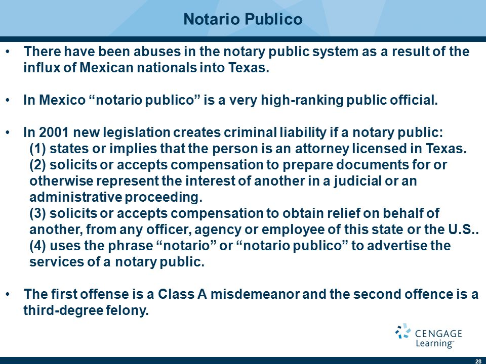 "28 Notario Publico There have been abuses in the notary public system as a result of the influx of Mexican nationals into Texas. In Mexico ""notario pub"