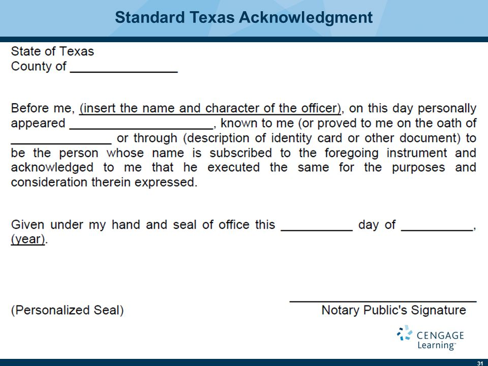 31 Standard Texas Acknowledgment