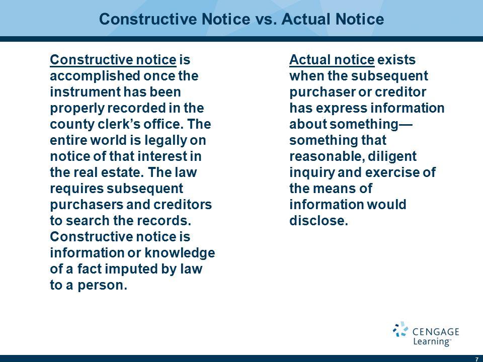 7 Constructive Notice vs.