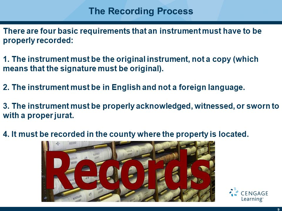 10 The Recording Process If it is an instrument (deed or deed of trust) it must contain a notice on the first page of the instrument in 12 point bold-faced type or 12 point upper case letters and read substantially as follows: NOTICE OF CONFIDENTIALITY RIGHTS: IF YOU ARE A NATURAL PERSON, YOU MAY REMOVE OR STRIKE ANY OF THE FOLLOWING INFORMATION FROM ANY INSTRUMENT THAT TRANSFERS AN INTEREST IN REAL PROPERTY BEFORE IT IS FILED FOR RECORD IN THE PUBLIC RECORDS: YOUR SOCIAL SECURITY NUMBER OR YOUR DRIVER'S LICENSE NUMBER.