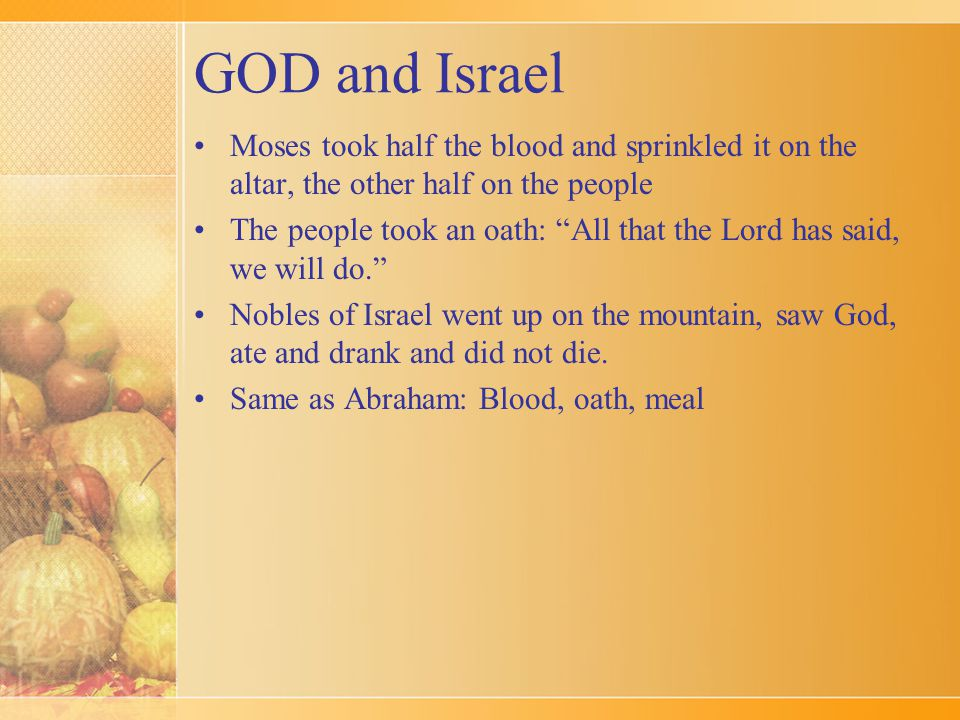 """GOD and Israel Moses took half the blood and sprinkled it on the altar, the other half on the people The people took an oath: """"All that the Lord has s"""