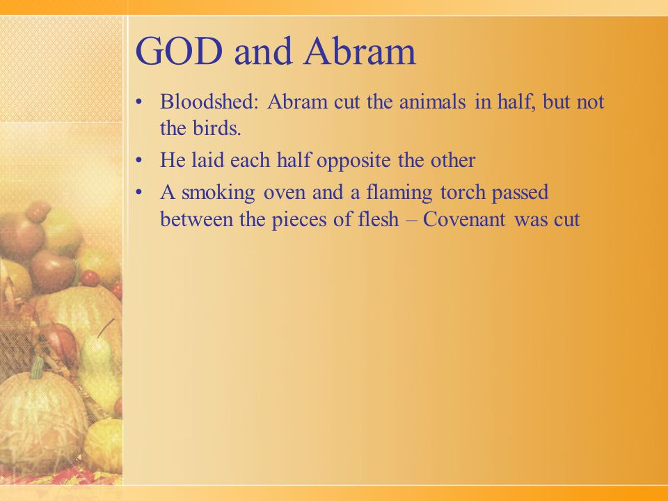GOD and Abram Bloodshed: Abram cut the animals in half, but not the birds. He laid each half opposite the other A smoking oven and a flaming torch pas