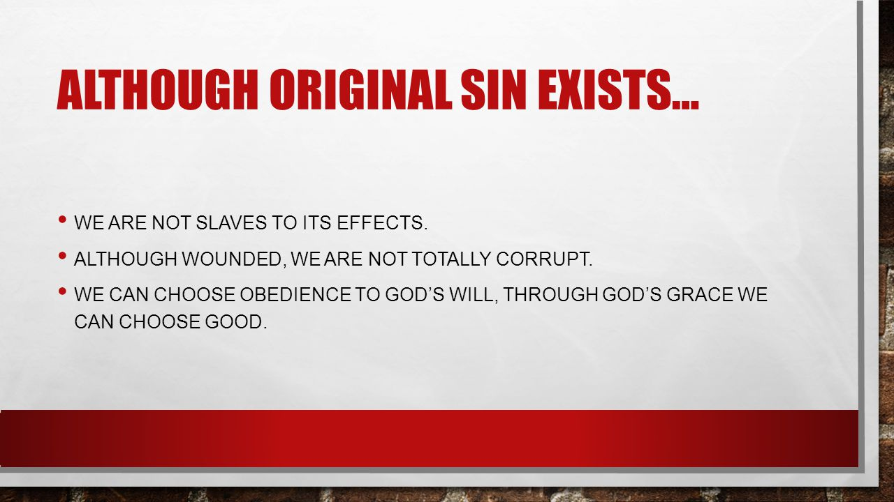 ALTHOUGH ORIGINAL SIN EXISTS… WE ARE NOT SLAVES TO ITS EFFECTS.