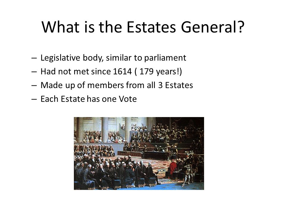 What is the Estates General? – Legislative body, similar to parliament – Had not met since 1614 ( 179 years!) – Made up of members from all 3 Estates