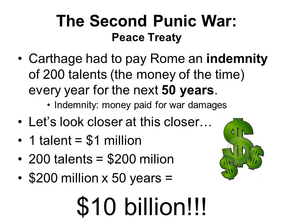 The Second Punic War: Peace Treaty Carthage had to pay Rome an indemnity of 200 talents (the money of the time) every year for the next 50 years.