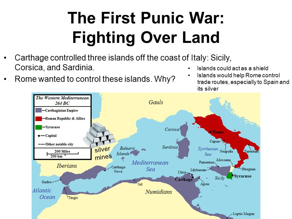 The First Punic War: Fighting Over Land Carthage controlled three islands off the coast of Italy: Sicily, Corsica, and Sardinia. Rome wanted to contro