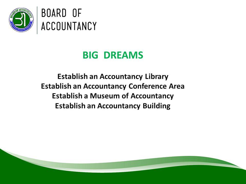 BIG DREAMS Establish an Accountancy Library Establish an Accountancy Conference Area Establish a Museum of Accountancy Establish an Accountancy Buildi