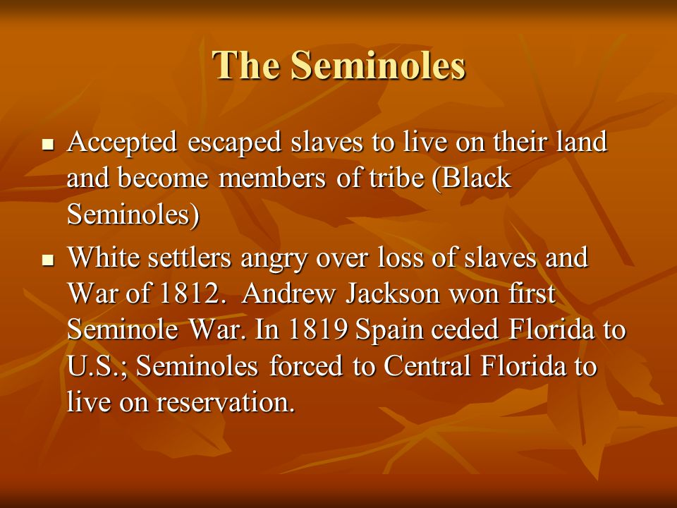 The Seminoles Accepted escaped slaves to live on their land and become members of tribe (Black Seminoles) Accepted escaped slaves to live on their land and become members of tribe (Black Seminoles) White settlers angry over loss of slaves and War of 1812.
