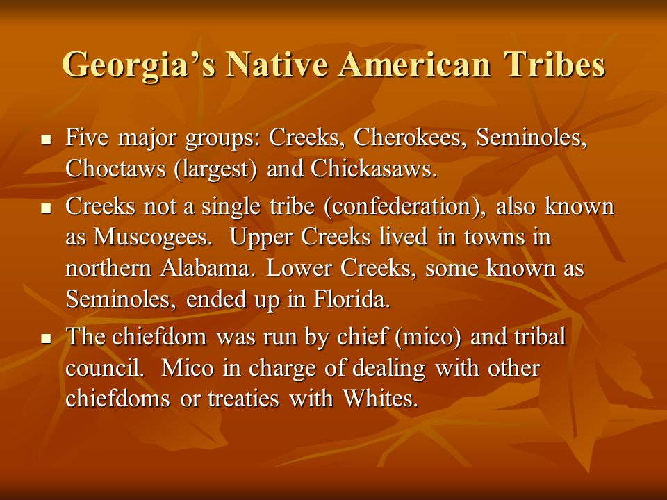 Georgia's Native American Tribes Five major groups: Creeks, Cherokees, Seminoles, Choctaws (largest) and Chickasaws.