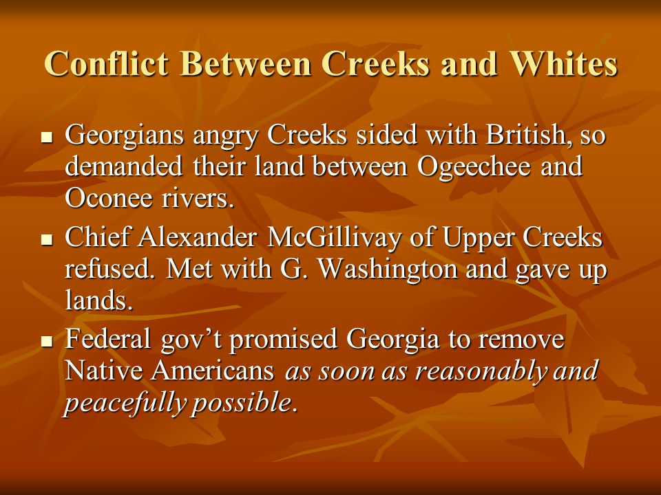 Conflict Between Creeks and Whites Georgians angry Creeks sided with British, so demanded their land between Ogeechee and Oconee rivers.