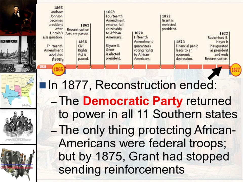 In 1877, Reconstruction ended: – The Democratic Party returned to power in all 11 Southern states – The only thing protecting African- Americans were