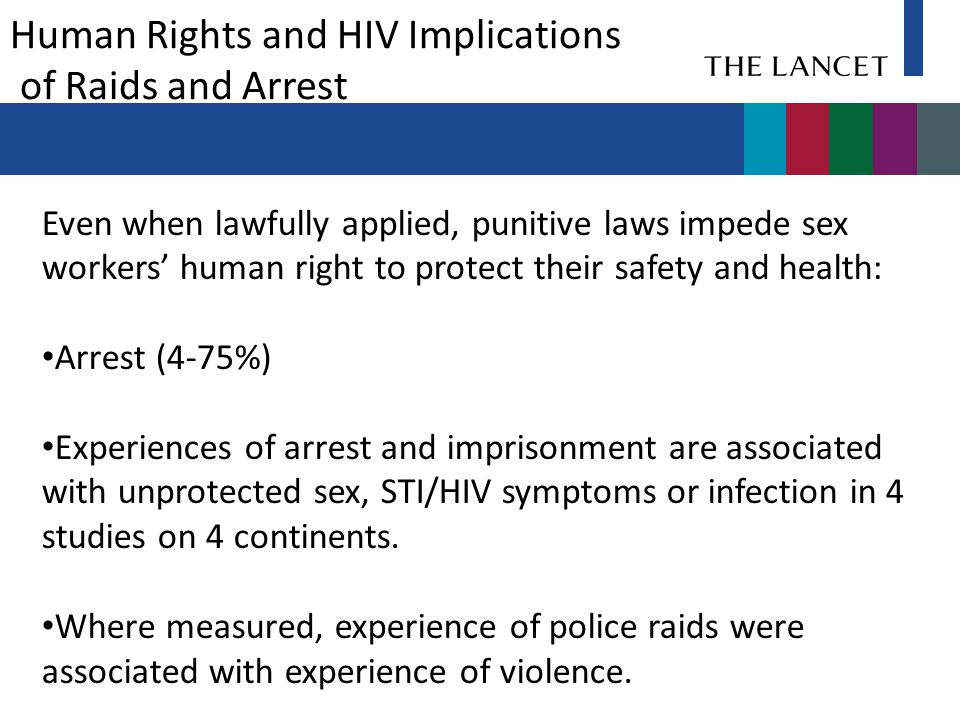 Arrest (4-75%) Even when lawfully applied, punitive laws impede sex workers' human right to protect their safety and health: Arrest (4-75%) Experiences of arrest and imprisonment are associated with unprotected sex, STI/HIV symptoms or infection in 4 studies on 4 continents.