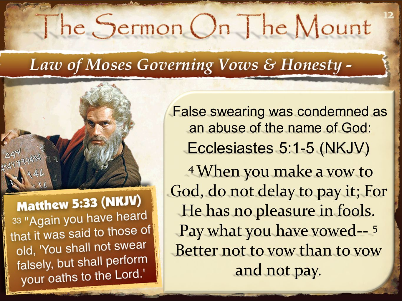 1212 Ecclesiastes 5:1-5 (NKJV) 4 When you make a vow to God, do not delay to pay it; For He has no pleasure in fools. Pay what you have vowed-- 5 Bett