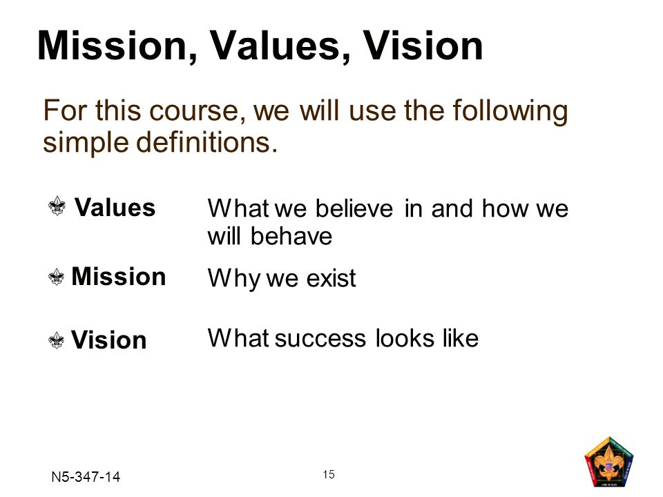 N5-347-14 15 Mission, Values, Vision For this course, we will use the following simple definitions.