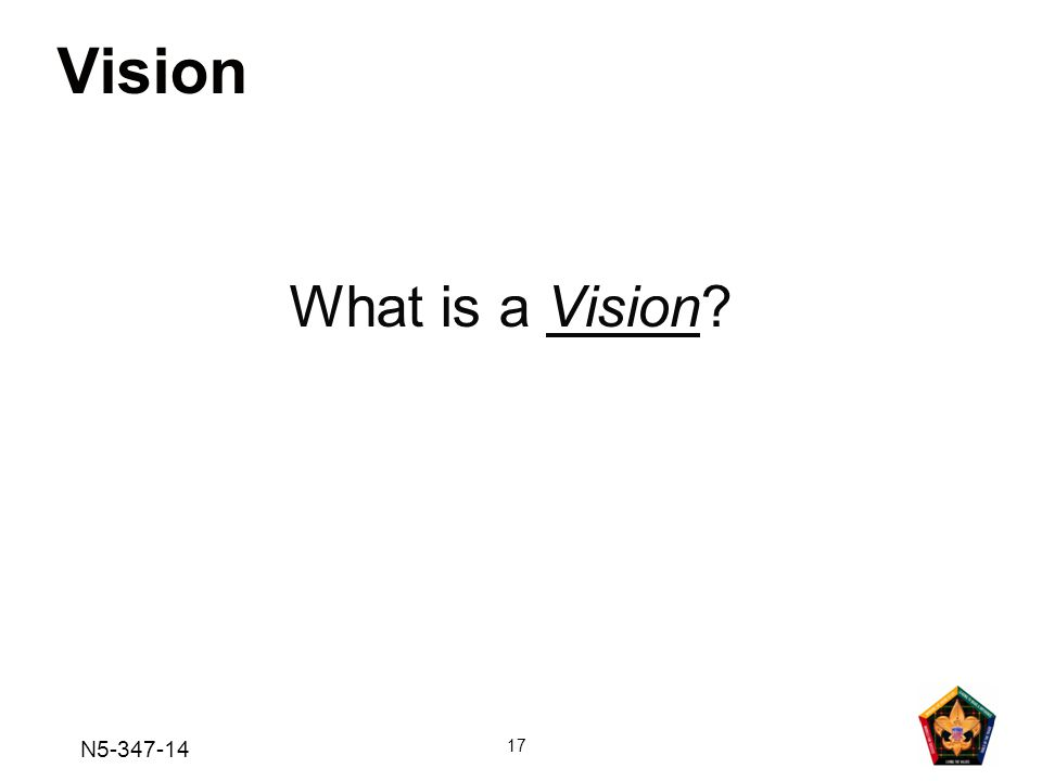 N5-347-14 17 Vision What is a Vision?