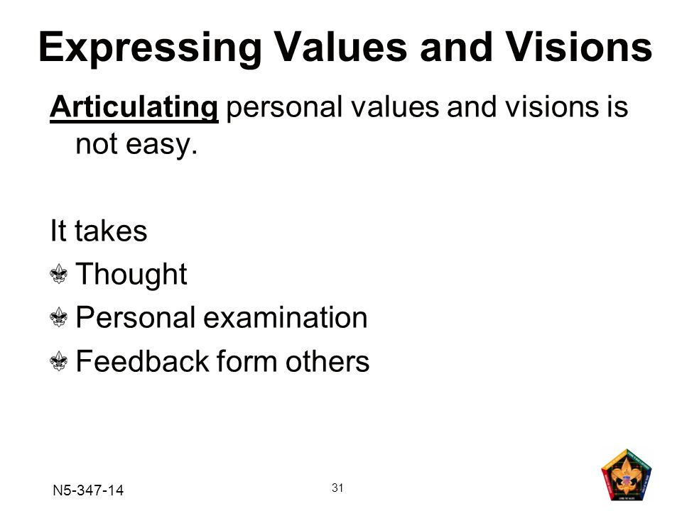 N5-347-14 31 Articulating personal values and visions is not easy.