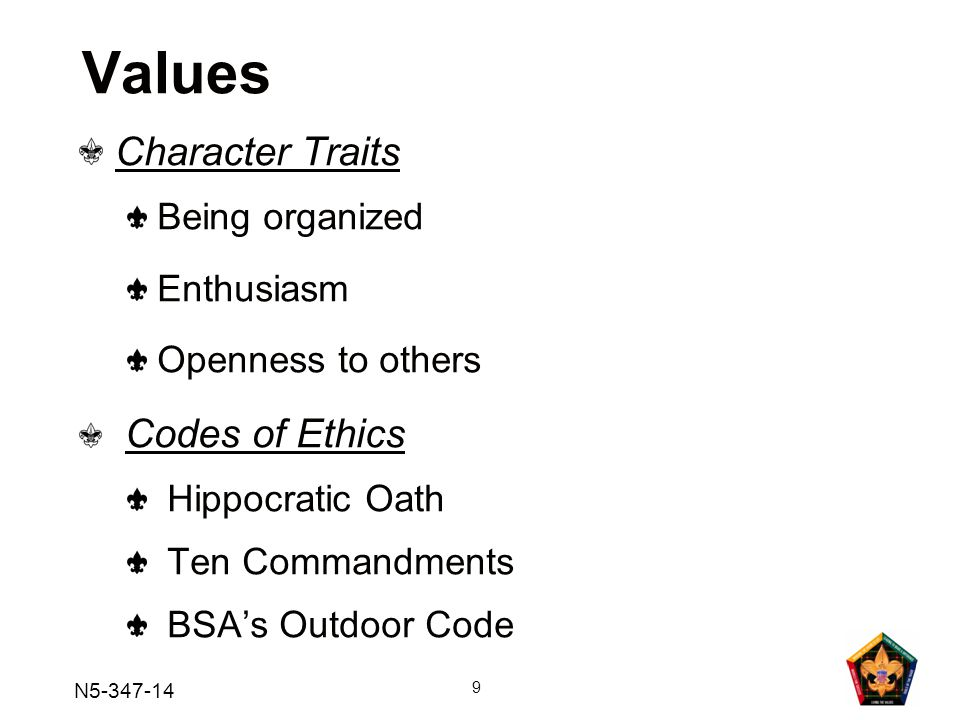 N5-347-14 9 Values Character Traits Being organized Enthusiasm Openness to others Codes of Ethics Hippocratic Oath Ten Commandments BSA's Outdoor Code