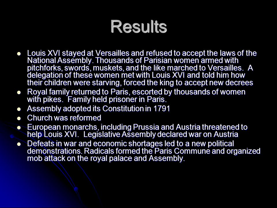 Results Louis XVI stayed at Versailles and refused to accept the laws of the National Assembly. Thousands of Parisian women armed with pitchforks, swo