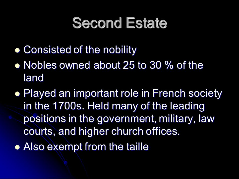Second Estate Consisted of the nobility Consisted of the nobility Nobles owned about 25 to 30 % of the land Nobles owned about 25 to 30 % of the land