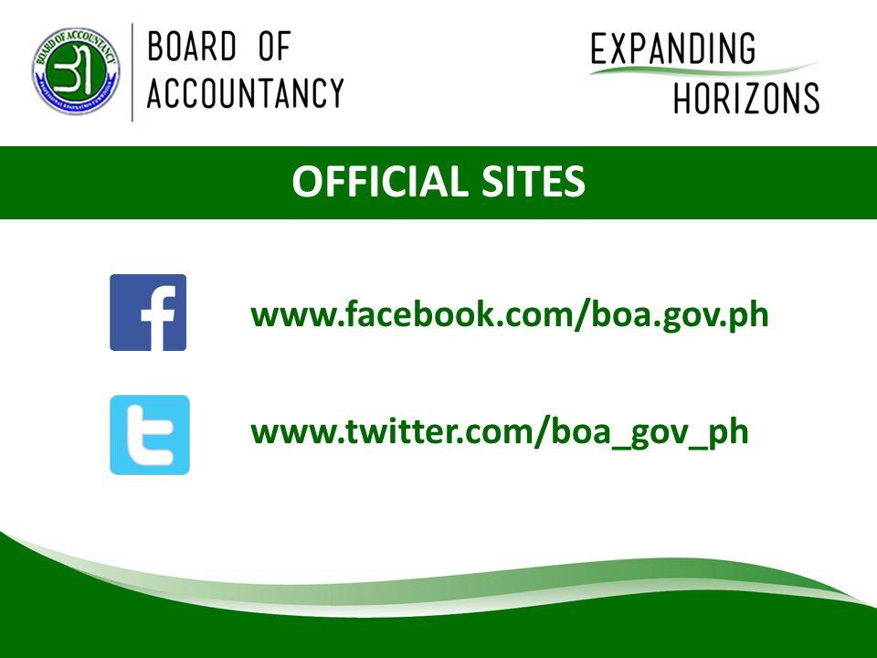 OFFICIAL SITES www.twitter.com/boa_gov_ph www.facebook.com/boa.gov.ph