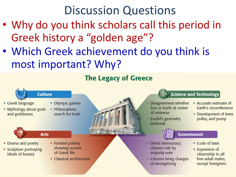 """Discussion Questions Why do you think scholars call this period in Greek history a """"golden age""""? Which Greek achievement do you think is most importan"""