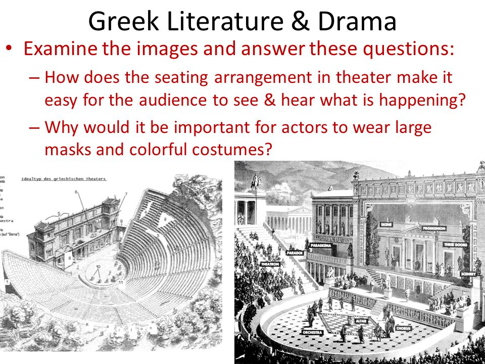 Greek Literature & Drama Examine the images and answer these questions: – How does the seating arrangement in theater make it easy for the audience to