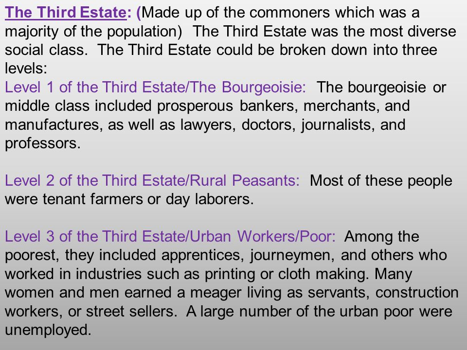 The Third Estate: (Made up of the commoners which was a majority of the population) The Third Estate was the most diverse social class. The Third Esta