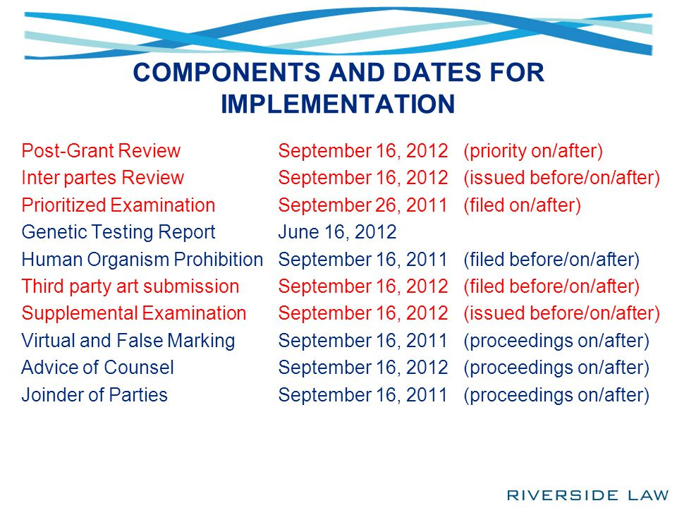 COMPONENTS AND DATES FOR IMPLEMENTATION Post-Grant Review Inter partes Review Prioritized Examination Genetic Testing Report Human Organism Prohibitio