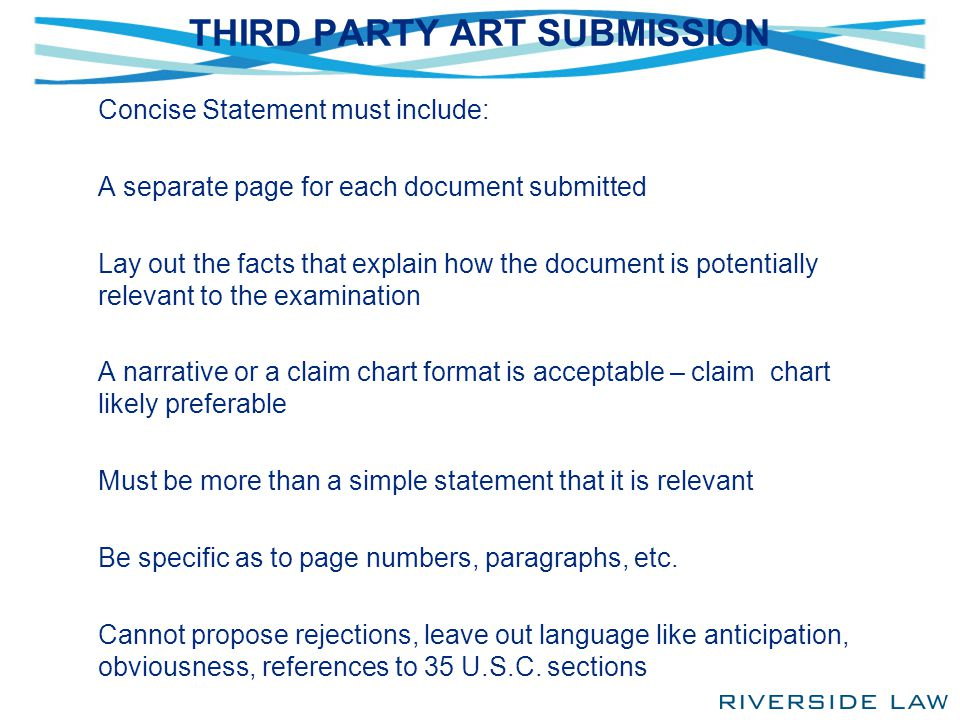 THIRD PARTY ART SUBMISSION Concise Statement must include: A separate page for each document submitted Lay out the facts that explain how the document