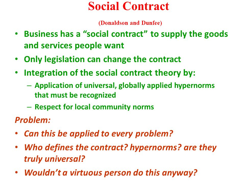 "Social Contract (Donaldson and Dunfee) Business has a ""social contract"" to supply the goods and services people want Only legislation can change the c"