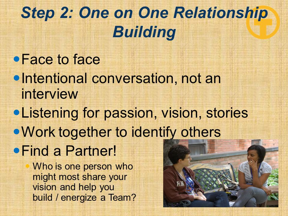 Step 2: One on One Relationship Building Face to face Intentional conversation, not an interview Listening for passion, vision, stories Work together to identify others Find a Partner.