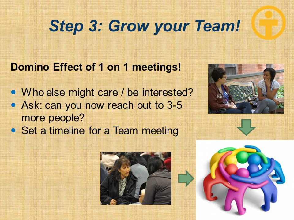 Step 3: Grow your Team. Domino Effect of 1 on 1 meetings.