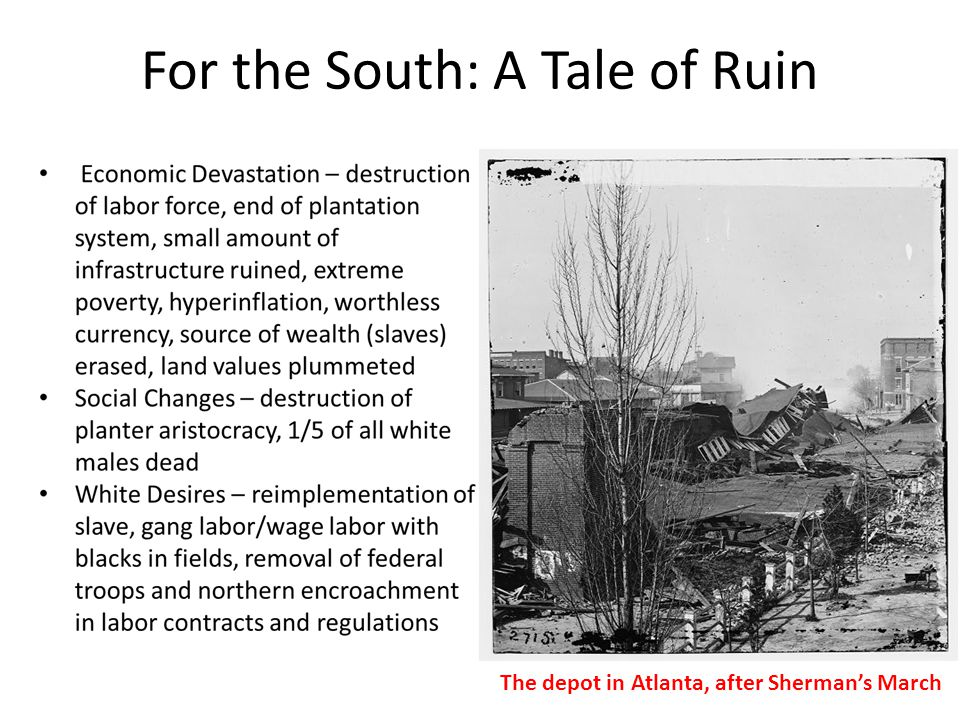 For the North: A Tale of Two Stories Economic Opportunity – rebuild the South with northern free labor ideology, invest in southern infrastructure (especially RR) and help the South industrialize, carpetbagging Social Opportunity – educate southern blacks through the Benevolent Society and its reform organizations, especially school teachers; bring South into 19th century with abolition and more egalitarian society Carpetbaggers and the Scalawags Carpetbaggers, also a term of derision, were white business people from the North who moved to the South during Reconstruction, 1867-1877.