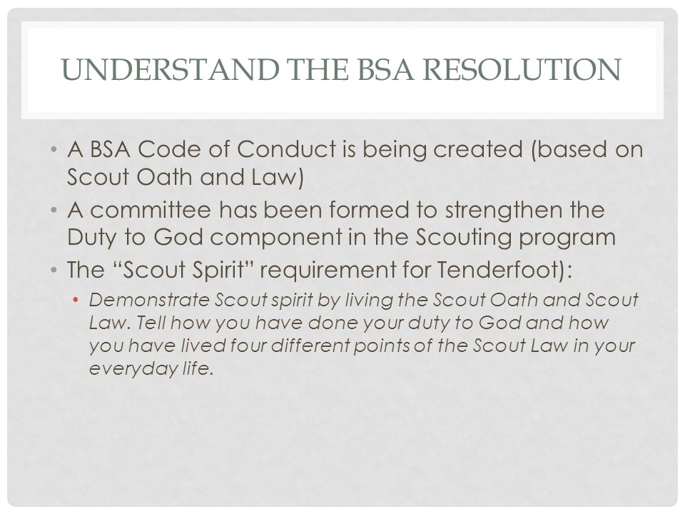 UNDERSTAND THE BSA RESOLUTION A BSA Code of Conduct is being created (based on Scout Oath and Law) A committee has been formed to strengthen the Duty to God component in the Scouting program The Scout Spirit requirement for Tenderfoot): Demonstrate Scout spirit by living the Scout Oath and Scout Law.