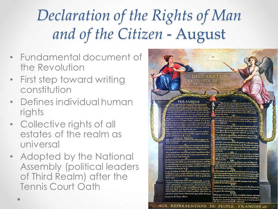 Declaration of the Rights of Man and of the Citizen - August Fundamental document of the Revolution First step toward writing constitution Defines individual human rights Collective rights of all estates of the realm as universal Adopted by the National Assembly (political leaders of Third Realm) after the Tennis Court Oath