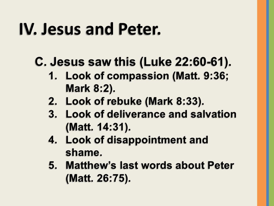 IV. Jesus and Peter. C. Jesus saw this (Luke 22:60-61).
