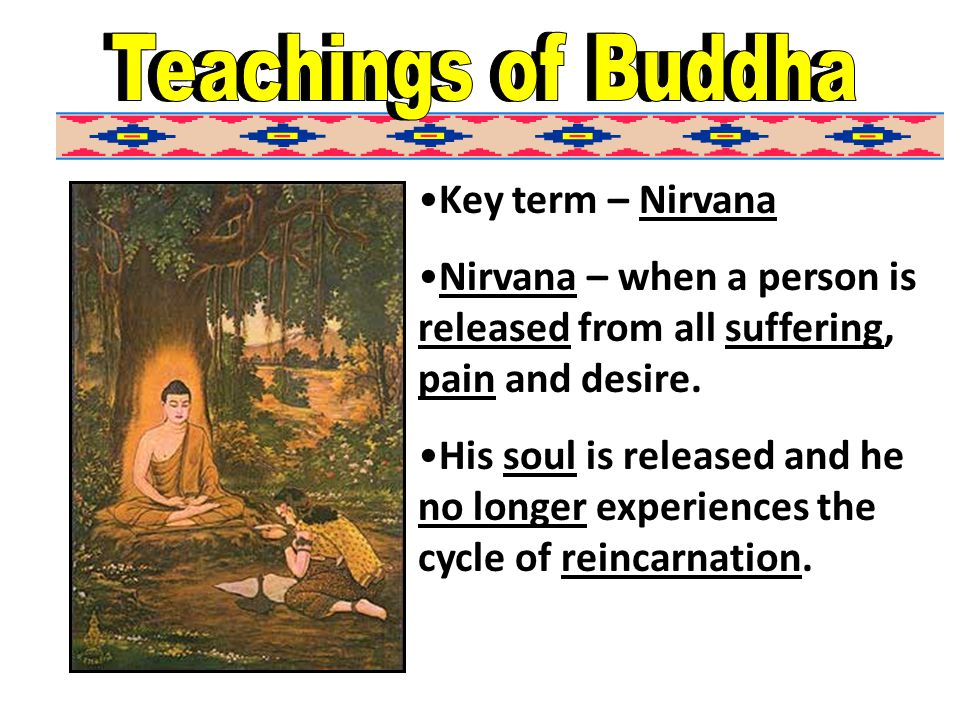 Key term – Nirvana Nirvana – when a person is released from all suffering, pain and desire.