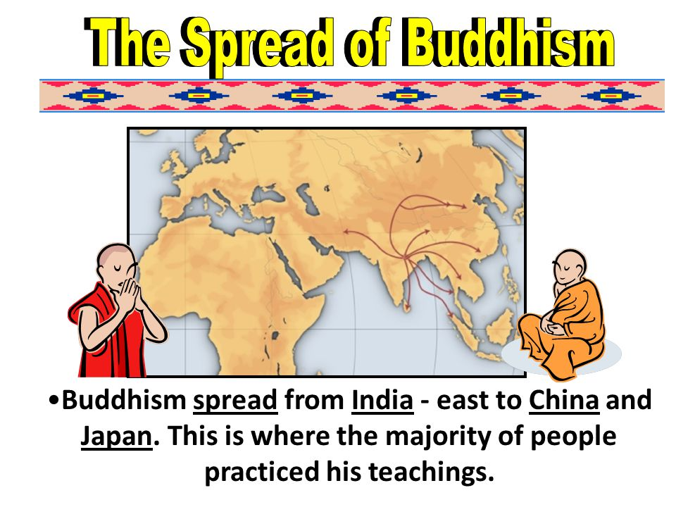 Buddhism spread from India - east to China and Japan.