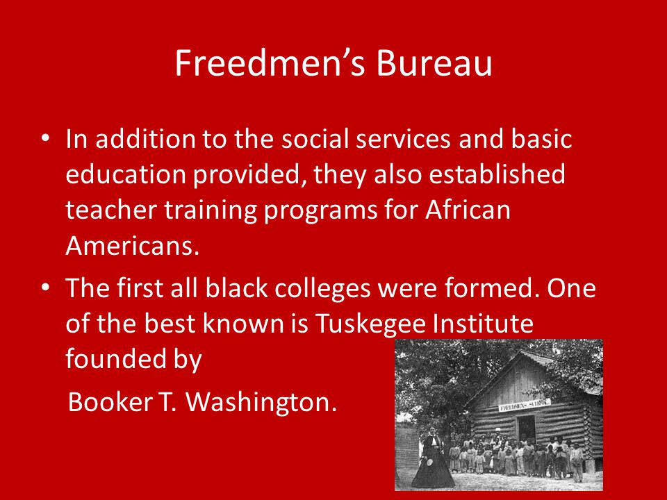 Freedmen's Bureau In addition to the social services and basic education provided, they also established teacher training programs for African Americans.