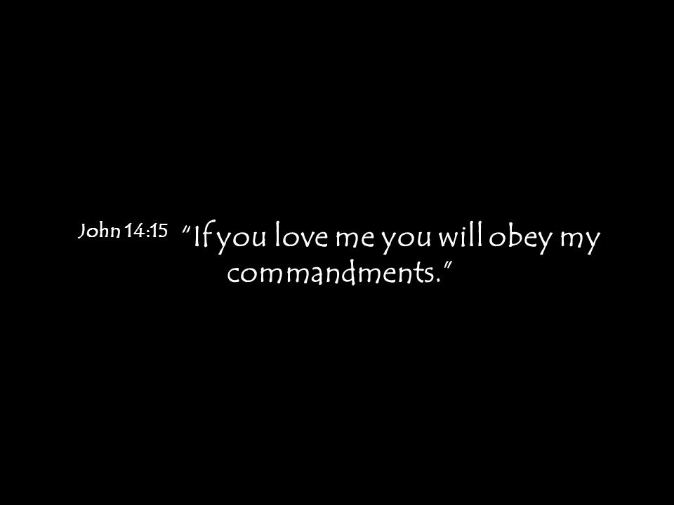 "John 14:15 ""If you love me you will obey my commandments."""
